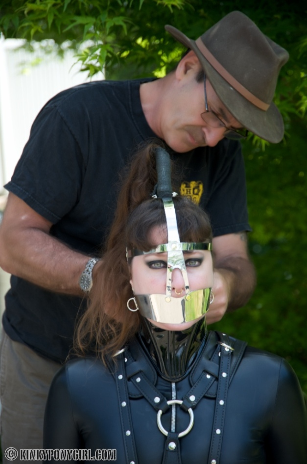 Ponygirl Anna Rose gets a House of Gord Helmet