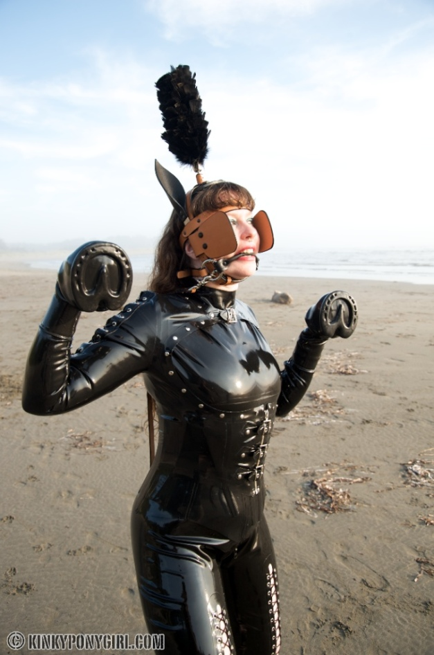 Kinky Ponygirl Anna Rose on the Beach